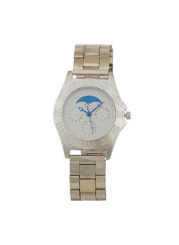 Moon Face Metallic Watch - SILVER - 1140071435001