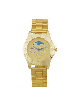 Moon Face Metallic Watch - GOLD - 1140071435001