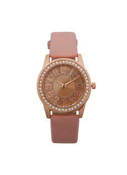 Glitter Face Faux Leather Watch - 1140071435131