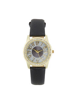 Glitter Face Faux Leather Watch - 1140071435311