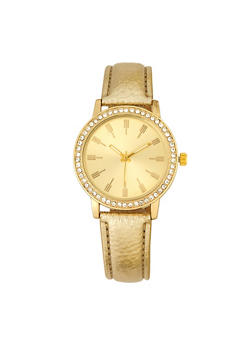 Rhinestone Round Bezel Faux Leather Watch - 1140071436633