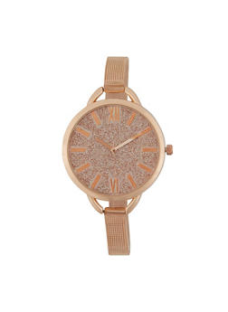 Skinny Metal Mesh Strap Watch - 1140071436681