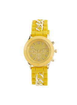 Silicone Chain Strap Watch - YELLOW - 1140071437299