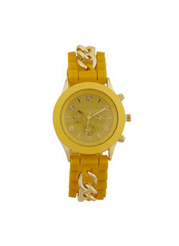Metallic Chain Silicone Watch - 1140071437797