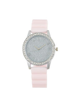 Glitter Face Rubber Strap Watch - BLUSH - 1140071438429