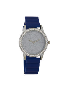 Glitter Face Rubber Strap Watch - 1140071438429