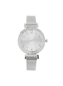 Rhinestone Bezel Metallic Mesh Watch - 1140071438504