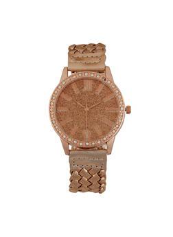 Metallic Woven Strap Watch - 1140071438810
