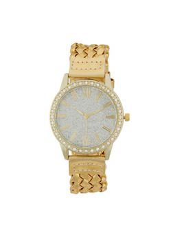 Metallic Woven Strap Watch - 1140071438810