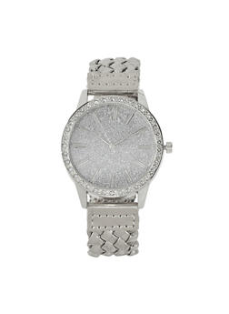 Glitter Face Braided Watch - 1140071438849