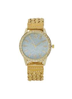 Glitter Face Braided Watch - 1140071438849