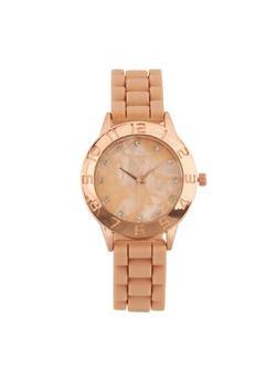 Silicone Woven Rhinestone Watch - BLUSH - 1140071439031