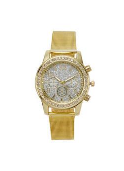Metallic Mesh Glitter Face Watch - 1140071439098