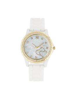 Rhinestone Heart Face Silicone Watch - 1140071439719