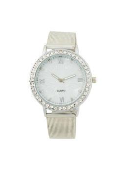Rhinestone Dial Watch with Metal Mesh Band - 1140072692272