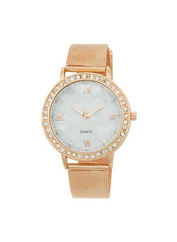 Rhinestone Dial Watch with Metal Mesh Band - ROSE - 1140072692272