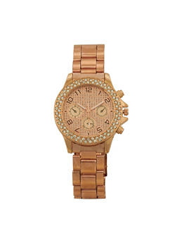 Rhinestone Bezel Metallic Watch - ROSE - 1140072692782