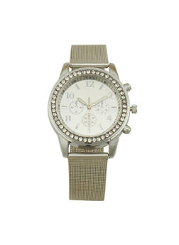 Metallic Mesh Strap Watch - SILVER - 1140072692823