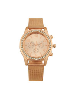 Metallic Mesh Strap Watch - ROSE - 1140072692823