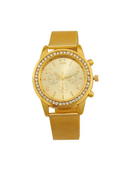 Metallic Mesh Strap Watch - GOLD - 1140072692823