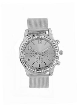 Rhinestone Metallic Strap Watch - 1140072693228