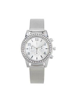 Rhinestone Metallic Mesh Watch - 1140072693282