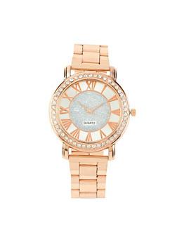Rhinestone Bezel Metallic Watch - 1140072697142