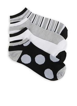 Set of 4 Ankle Socks - BLACK/WHITE - 1143041450018