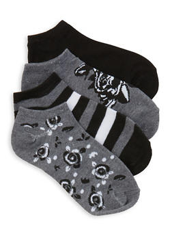 Pack of 4 Striped Floral and Solid Ankle Socks - CHARCOAL - 1143041450219
