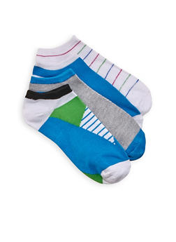 Color Block Striped and Solid Ankle Socks 4 Pack - BLUE - 1143041450419