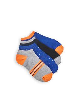 4 Pack Striped Polka Dot Ankle Socks - ORANGE - 1143041450718