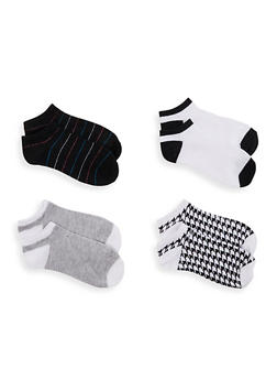 4 Pack Houndstooth Assorted Ankle Socks - 1143041450819