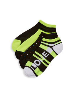 Set of 4 Assorted Love Ankle Socks - NEON YELLOW - 1143041451119