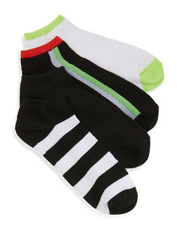 4 Pair Assorted Striped Detail Ankle Socks - BLACK/WHITE - 1143041451220