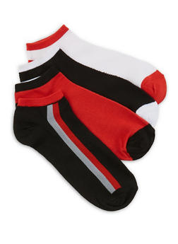 4 Pair Assorted Striped Detail Ankle Socks - RED - 1143041451220