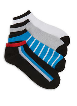 4 Pair Assorted Striped Detail Ankle Socks - BLUE - 1143041451220