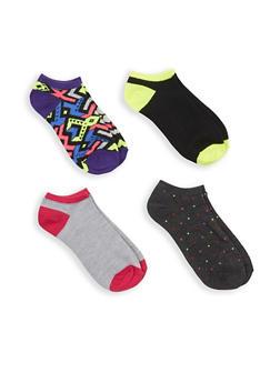 Set of 4 Assorted Ankle Socks - MULTI COLOR - 1143041451618