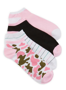 4 Pack of Solid and Camo Ankle Socks - PINK - 1143041451719
