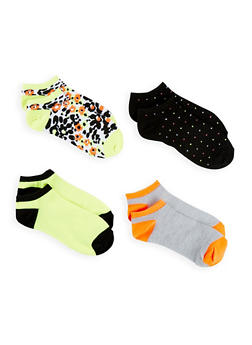 Set of 4 Printed Ankle Socks - LIME - 1143041451818