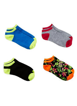 Set of 4 Assorted Ankle Socks - MULTI COLOR - 1143041452018