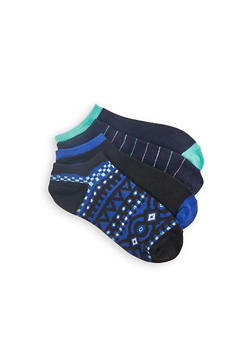 Pack of 4 Solid and Printed Ankle Socks - 1143041452118
