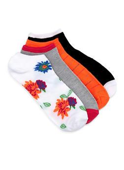 Printed Contrast Trim Ankle Sock Set - ORANGE - 1143041452419