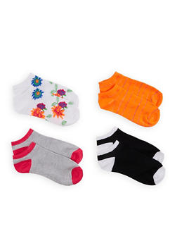 4 Pack Color Block and Floral Ankle Socks - ORANGE - 1143041452420