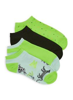 Set of 4 Assorted Animal Print Ankle Socks - 1143041453719