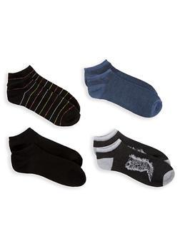 Set of 4 Assorted Ankle Socks - BLACK - 1143041454118