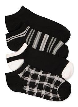 4 Pack Assorted Plaid Ankle Socks - 1143041454520