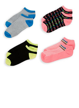 4 Pack Assorted Ankle Socks - PINK - 1143041455317