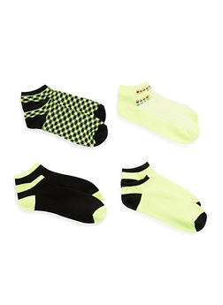 Set of 4 Printed Ankle Socks - NEON YELLOW - 1143041455318