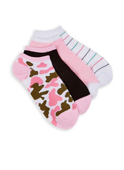 Set of 4 Camo Striped Ankle Socks - 1143041457719
