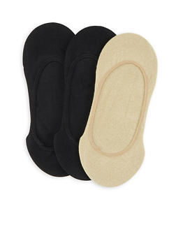 Set of 3 Lurex and Solid No Show Socks - 1143068061108